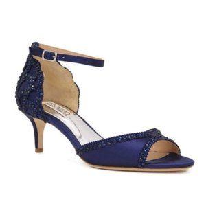 BADGLEY MISCHKA BNIB Gillian Ankle Strap Wedding Evening Shoe Low Heel Navy